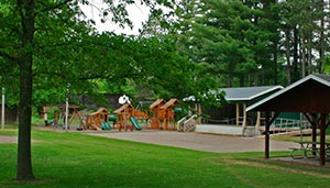 Park buildings and playground